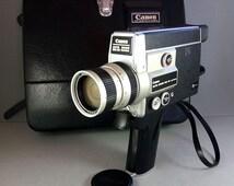 Canon Auto Zoom 518 SV Super 8 Camera + C-8 9.5-47.5mm f/1.8 + Case