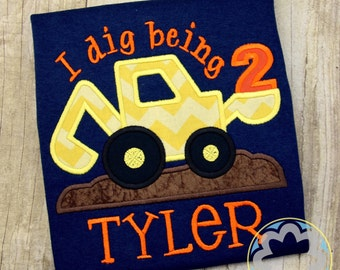 Construction - Building/Builder - Truck Personalized, Monogrammed Birthday Party Shirt