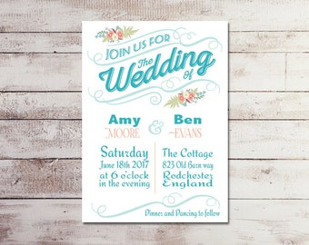 Wedding Invitation, Save the date, Baby shower Invitation, Bridal Shower invitation, Birthday invitation