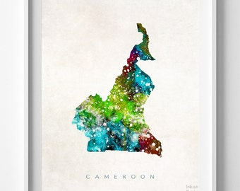 Cameroon Map Print, Yaounde Print, Cameroon Poster, Home Decor, Map Art, State Art, Giclee Art, Map, Travel Poster, Back To School