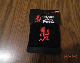 "New- Offically  Licensed ICP ""HATCHETMAN ""Black with Red hatchetman "" terrycloth wristband."