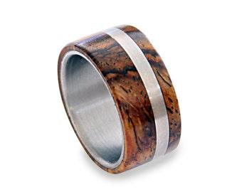 Titanium Mens Ring, Off-Center Titanium Ring With Cocobolo Wood Inlays