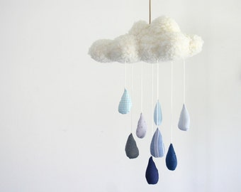 Rainy Day Cloud With Blue Ombre Raindrops Nursery Mobile