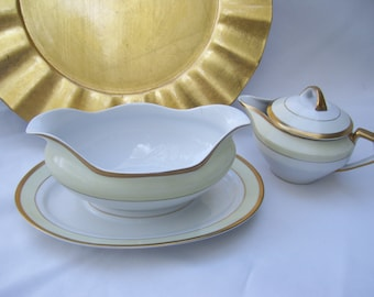 Vintage Meito China Gravy Boat Attached Underplate and Matching Creamer