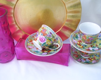 Asian Floral Gold Teacup Tea Cup Saucer Set
