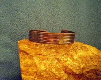 1/2 Inch Multi Vertical Line Etched Copper Cuff Bracelet with Patina