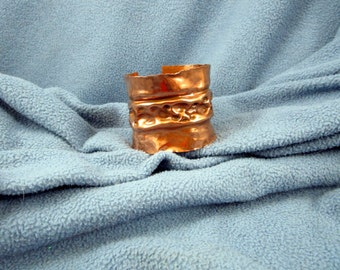 2 Inch Form Folded Copper Cuff Bracelet with Various Size Hammered Divot Texture and Patina