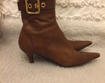 Prada brown leather ankle boots size 39