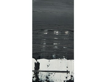 Abstract Painting, Original Wall Art, Miniature Abstract Painting,  Black & White Colors, 10x20 cm (~4x8 inches)