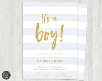 Baby Shower Invitation | It's a Boy | Customized Digital Printable File (5x7)