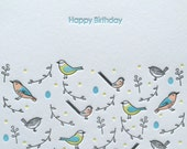 Garden Birds Birthday Letterpress Card