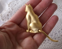 Vintage JJ Jonette Artifacts Cat Kitty Pin with Moveable tail, humor Fun Cat Kitty Pin in brushed satin gold plate
