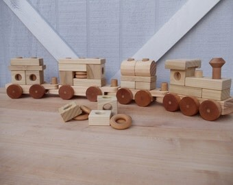 Block Train - FREE SHIPPING on this item - toy train set - stacking toy- handmade - natural