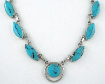 Southwestern Vintage Turquoise & Black Reversible Sterling Silver Necklace