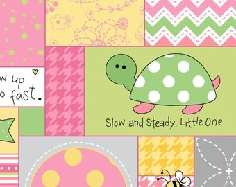 Pink Baby Flannel Fabric, Little One Flannel Too, Maywood Studios MASF8221-ZP, Pink, Yellow, Green Cheater Flannel, Baby Girl Quilt Fabric