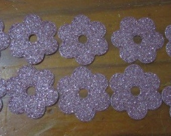 Set of 10 Pink Glitter Flowers
