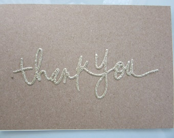 Thank You card with gold die cut on brown kraft cardstock