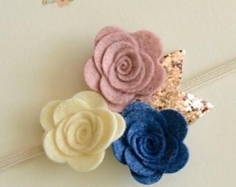 Felt Flower Headband - Felt Baby Headband, Felt Flower Headband, Garland Headband