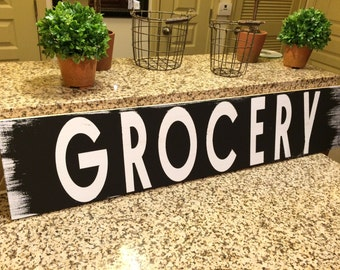 """GROCERY farmhouse sign. Fixer Upper. Rustic. Modern Farmhouse. Primitive. Barn Wood. Reclaimed Wood. Chalk Paint. Distressed sign. 36"""""""