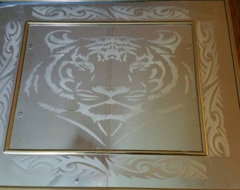 16x20 sand etched tiger mirror