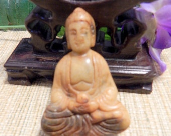"Large 2 1/4"" Jade Buddha Statue Display Shadow Box Hand Carved Jade Religious Statue"