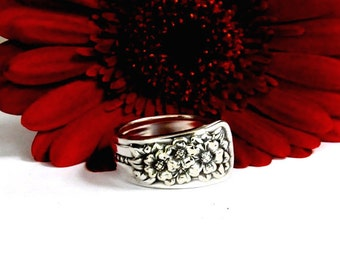 spoon ring, silver belle ring, classic ring, flower ring