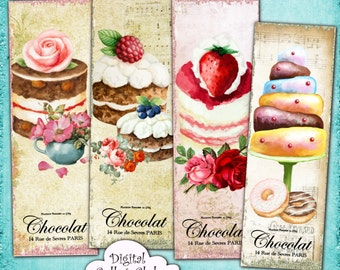 Shabby Chic French Patisserie Digital Bookmarks - Digital Collage Sheet Printable Download Paris Ephemera Vintage Paper Craft