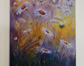 Daisies in a field painting