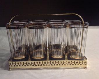"Culver ""Devon Black"" Barware Set Gold Carrier With Eight Hiball Glasses"