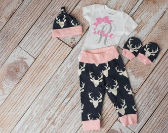 Newborn Coming Home Baby Deer Antlers/Horns Bodysuit, Hat, Scratch Mittens Set with Pink and Navy+ Personalized Initial and Name Bodysuit