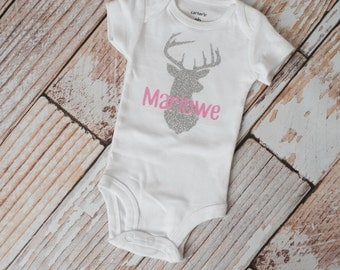 Personalized Girl Glitter and Pink Deer Bodysuit Long or Short Sleeve