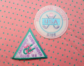 PASTEL vintage 80's emroidered sporty PATCHES set of 2! SPANK!