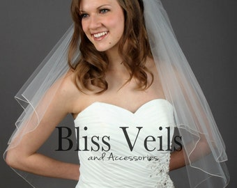 Pencil Edge Veil,  Wedding Veil, Waist Length,  Bridal Veil, 2 Layer Veil, White, Ivory, Off White!