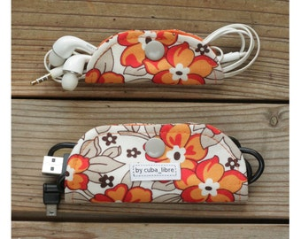 Ear buds & charger holders - Flowers orange