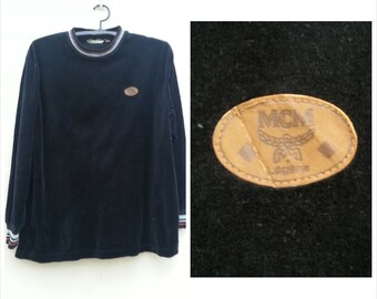 Sale! Vintage MCM LEGERE Sweatshirt Made in Japan/Unisex Velour Sweater / Size M