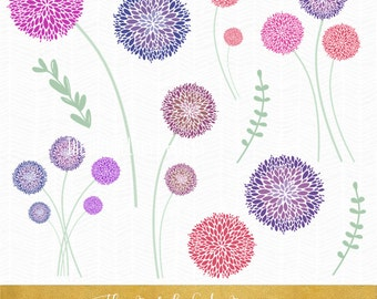 Allium Flower Clipart Set - INSTANT DOWNLOAD - .PNG Files