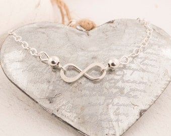 infinity necklace Sterling Silver, 16 inch silver necklace, eternity necklace, bridemaids gift, friendship necklace
