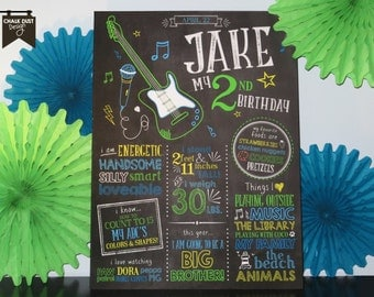 Custom chalkboard style first, second birthday or any age Rockstar milestone stat poster theme guitar, microphone. Digital or printed 18x24