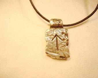 Teiwaz Rune, Fine Pewter, Teiwaz Rune Stone, Pewter Necklace, Adjustable Necklace, Vintage Necklace, Estate Jewelry, Vintage Pewter #N6228