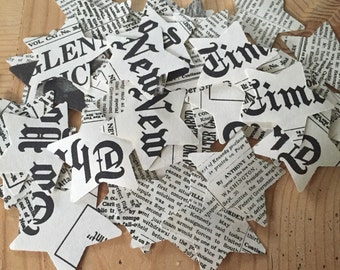 New York Times Front Page Paper Confetti ~ Medium Paper Stars ~ Party Decoration ~ Weddings, Bridal Showers and Celebrations ~ Table Decor