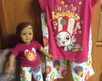 Matching girls and American girl doll Shopkins flannel pajamas