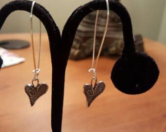 Sterling Silver Heart Dangle Earrings Artisan Sterling Silver Hearts
