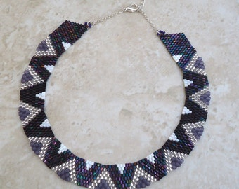 Purple, Silver and White Wavy Peyote Necklace