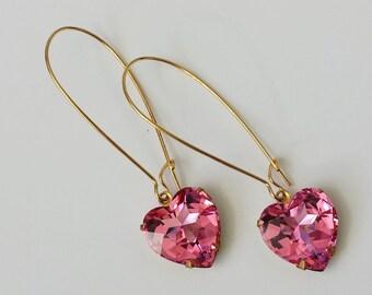 Pink Heart Earrings - Gift for Valentine's - Gifts for Teen Girls - Crystal Heart Earrings - Gift for Women - Sweetheart Earrings