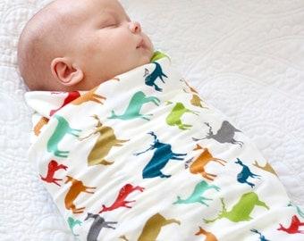 Elk Swaddle Blanket, Deer Swaddle Blanket, Organic Receiving Blanket, Organic Swaddle, Woodland Nursery, Baby Shower Gifts, Deer Nursery