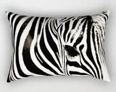 Zebra Rectangle Pillow, Zebra Pillow, Rectangular Pillow with Insert, Rectangular Throw Pillows, Black and White Pillow, Decorative Pillows