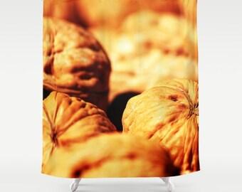 "Brown Shower Curtain ""Walnuts"", Food Photography Background, Brown Bathroom Decor, Urban Home Decor, Kitchen Decor"