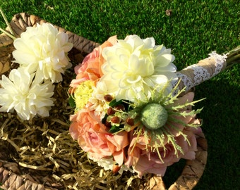 Country Wedding Bouquet, Rustic bouquet, Garden flowers bouquet, Rustic wedding, Rose bouquet, Dahlia bouquet, Peach and cream bouquet,