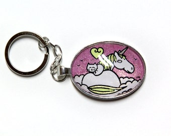 Key cat and Unicorn, bright pink sky, Mane yellow, ready-to-go