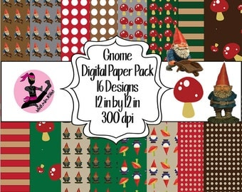 Gnome Digital Paper Pack- 16 Designs- Instant Download